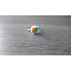 Bague verre fusing orange, bleu, turquoise blanche Julie and Co Créations