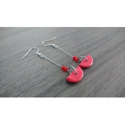 Fancy ceramic earrings half red moon
