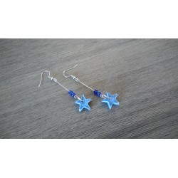 Blue star ceramic fancy earrings