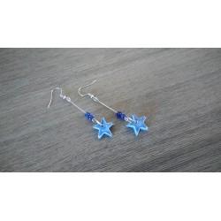 Blue star ceramic fancy earrings