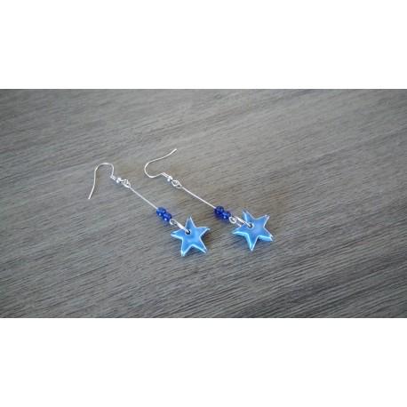 Boucles d'oreilles fantaisie céramique étoile bleu