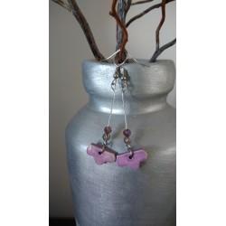Boucles d'oreilles fantaisie céramique fleurs violettes