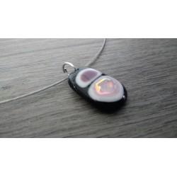 collier de verre fusing noir blanc et rose dichroïc