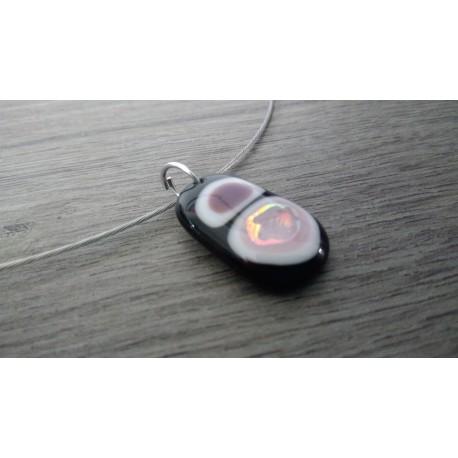 collier de verre fusing noir blanc et gris