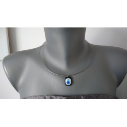 black and blue fusing glass necklace