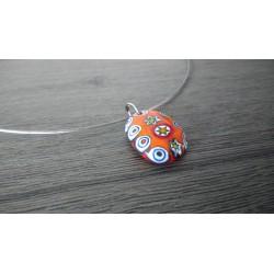 Pendentif de verre fusing millefiori rouge orange créatrice bijoux artisanaux vendée