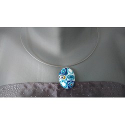 Woman pendant in blue and white millefiori fusing millefiori designer jewelry