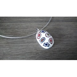Blue and white red millefiori glass pendant designer jewellery