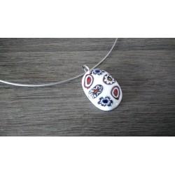 Pendentif de verre fusing millefiori rouge bleu et blanc créatrice bijoux artisanaux vendée