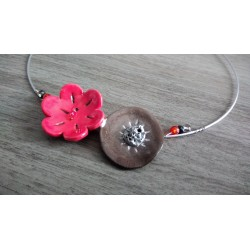 Red and white ceramic flower necklace wedding stainless steel evening