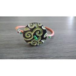 Bracelet vert faïence noir artisanale sur cuir et acier inoxydable made in france vendée