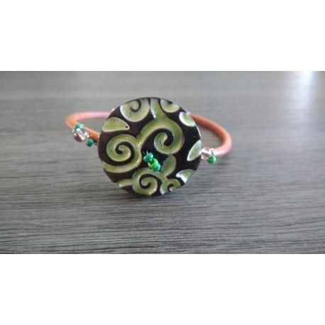 Bracelet blanc faïence noir artisanale sur cuir et acier inoxydable made in france vendée