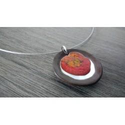 Pendentif nébuleuse en faïence noir émaillé rouge orangé