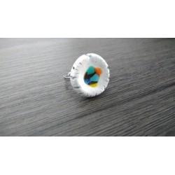Bague bleu lagon céramique et verre fusionné création made in france