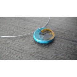 Collier faïence bleu et verre fusionné création made in france