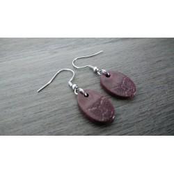 Dark purple oval fancy ceramic earrings