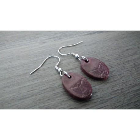 Boucles d'oreilles fantaisie céramique ovale violet