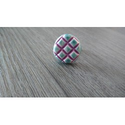 Purple turquoise turquoise white streaked round ring