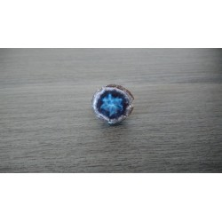Ceramic blue nebula ring and fused glass creation made in france
