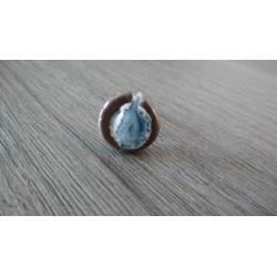 Bague nébuleuse bleue céramique et verre fusionné création made in france