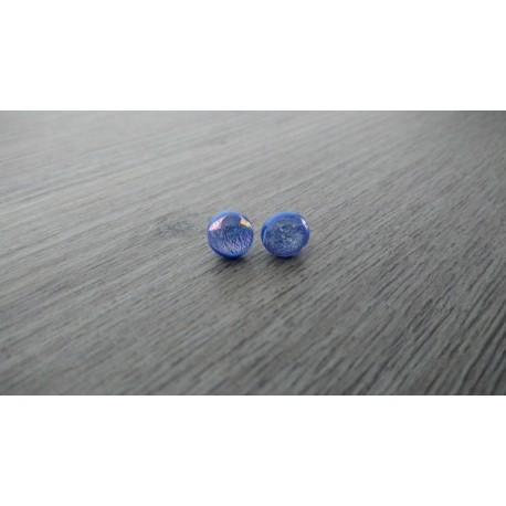 Boucles d'oreilles puce verre fusing bleue Dichroic acier inoxydable