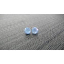Boucles d'oreilles puce verre fusing bleu ciel Dichroic acier inoxydable