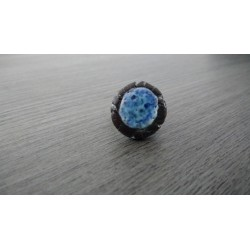 White and blue star nebula ring in earthenware and merged glass creation made in france