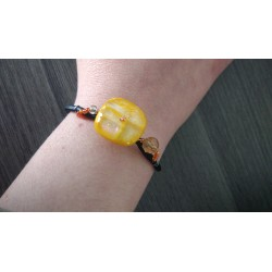Gold yellow bracelet on black leather, handcrafted dichroic glass on black leather and stainless steel made in france vendée