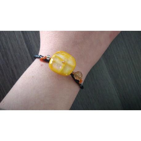 Bracelet orange sur cuir noir, verre dichroïque artisanale sur cuir noir et acier inoxydable made in france vendée