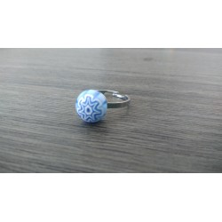 Ring glass fusing blue millefiori