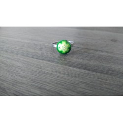 Green millefiori fusing glass ring