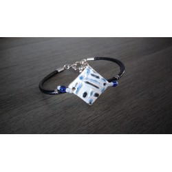 Blue, white and black homemade earthenware bracelet on black leather and stainless steel made in france vendée