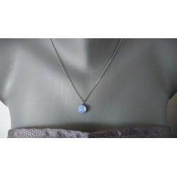Pendentif bleu clair effets en verre fusing dichroic création artisanale vendée