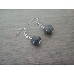 Boucles d'oreilles céramique noir acier inoxydable faïence