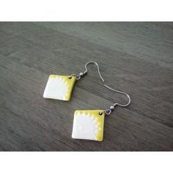 Boucles d'oreilles céramique jaune
