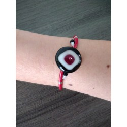 Black red bracelet handmade glass on black leather and stainless steel made in france vendée