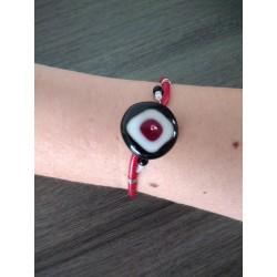 Bracelet rouge noir verre artisanale sur cuir noir et acier inoxydable made in france vendée