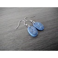 Boucles d'oreilles céramique bleu gris ovale