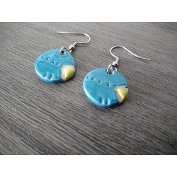 Turquoise and green ceramic earrings