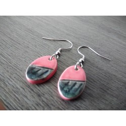 Pretty little pink and black ceramic earthenware earrings
