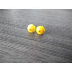 Boucles d'oreilles puce verre fusing millefiori jaune et blanc