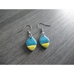 Boucles d'oreilles céramique bleu vert