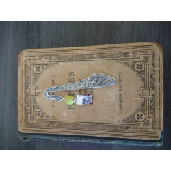 Marque-page vert en céramique, tissus liberty et métal argenté