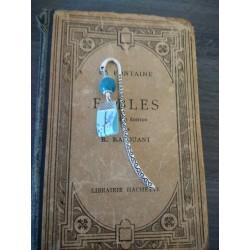 Marque-page turquoise céramique, ruban fleuri et métal argenté