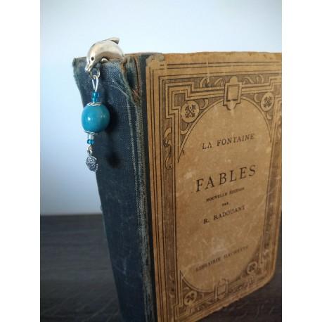 Marque-page bleu céramique coquillage et métal argenté