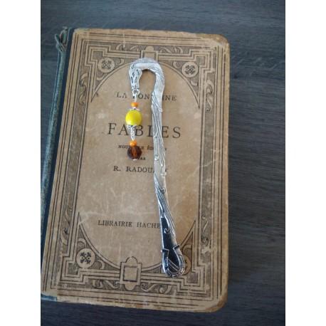 Marque-page turquoise lotus céramique et métal argenté