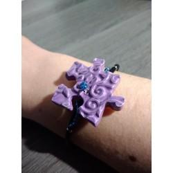 Bracelet violet puzzle faïence artisanale sur cuir noir et acier inoxydable made in france vendée