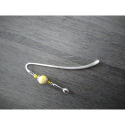 Marque-page jaune cheval céramique et métal argenté