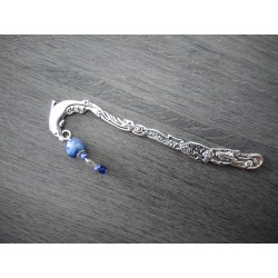 Marque-page bleu céramique et métal argenté