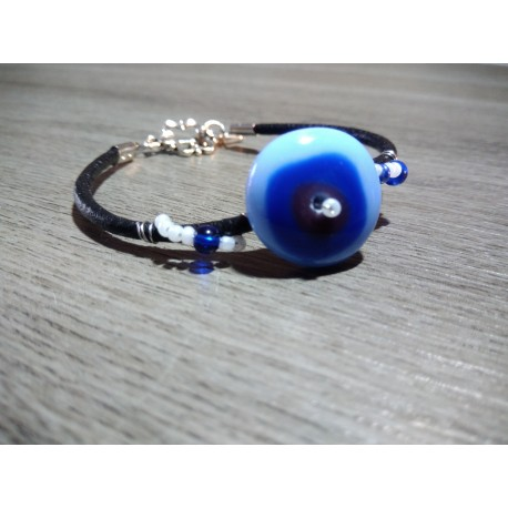 Bracelet bleu verre artisanale sur cuir noir et acier inoxydable made in france vendée